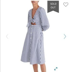 Madewell shimmer stripe cut out midi